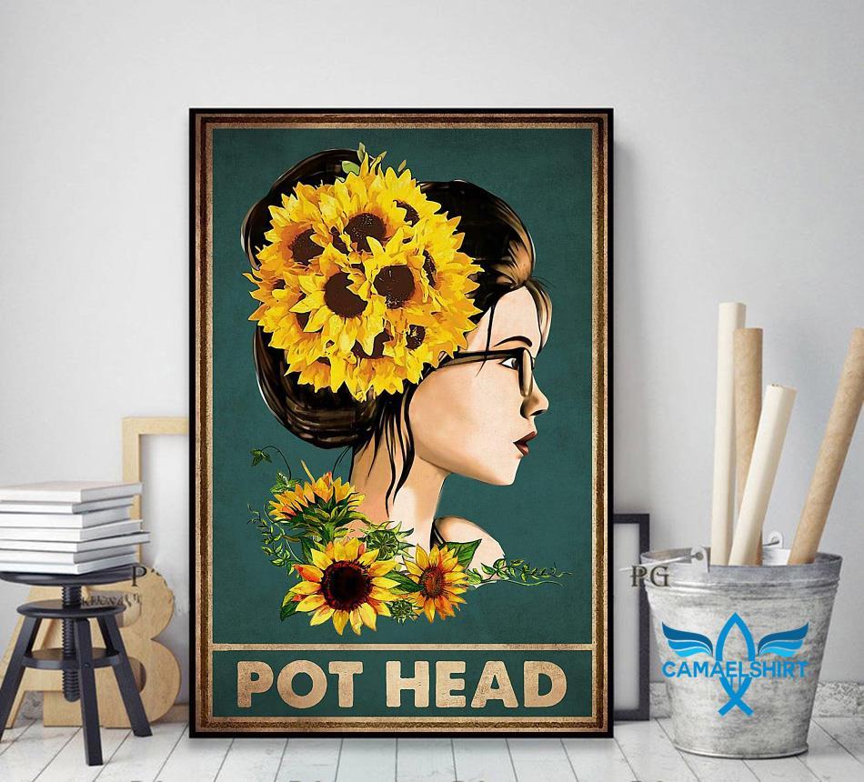 Sunflower girl pot head poster decor art