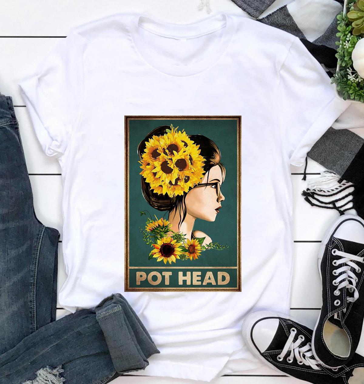 Sunflower girl pot head poster t-shirt