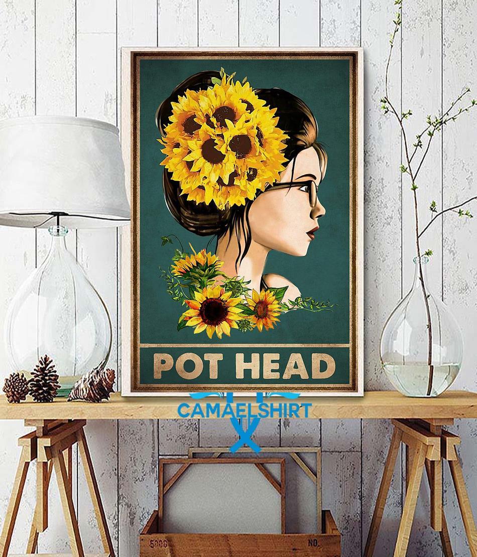 Sunflower girl pot head poster wall decor