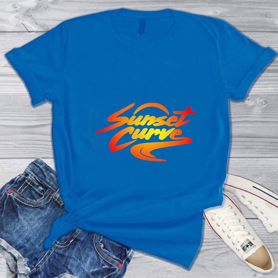 Sunset Curve retro vintage t-s blue