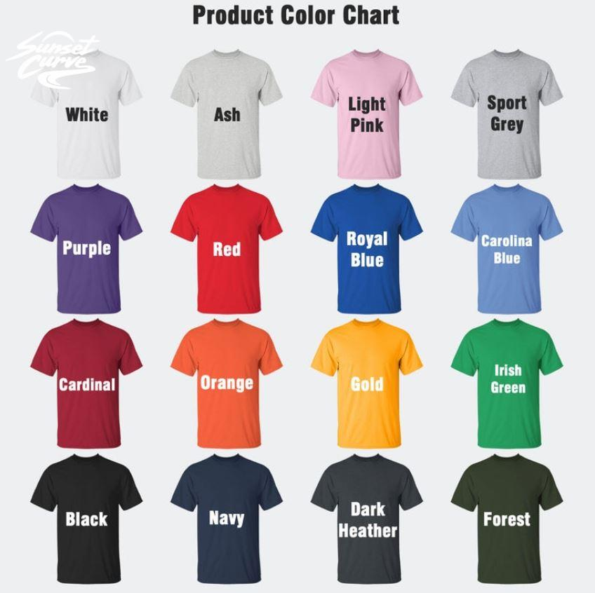 Sunset Curve white and black t-s Camaelshirt Color chart