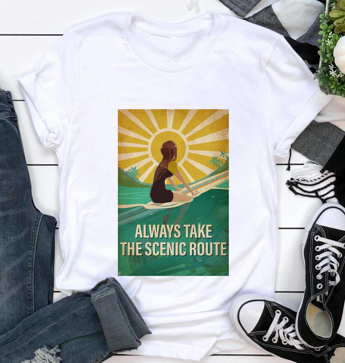 Surfing girl always take the scenic route vertical poster t-shirt