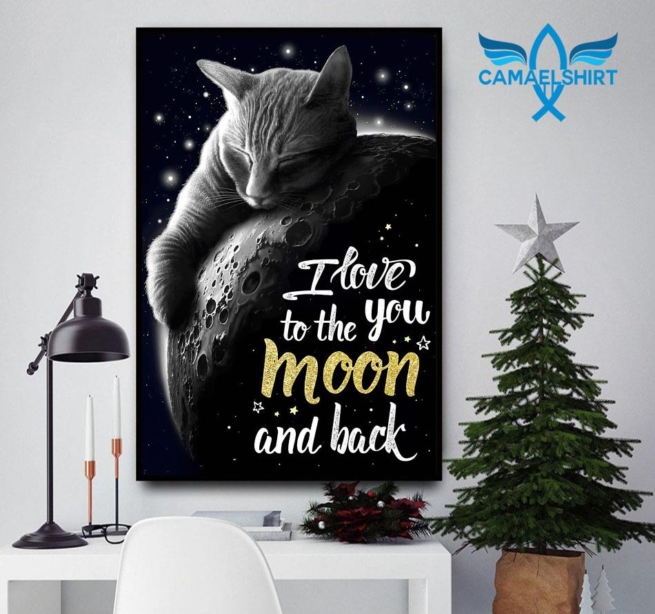 Tabby cat I love you to the moon and back poster