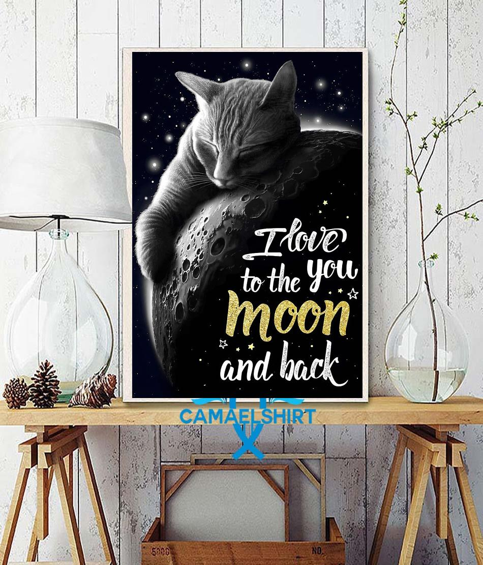 Tabby cat I love you to the moon and back poster wall decor