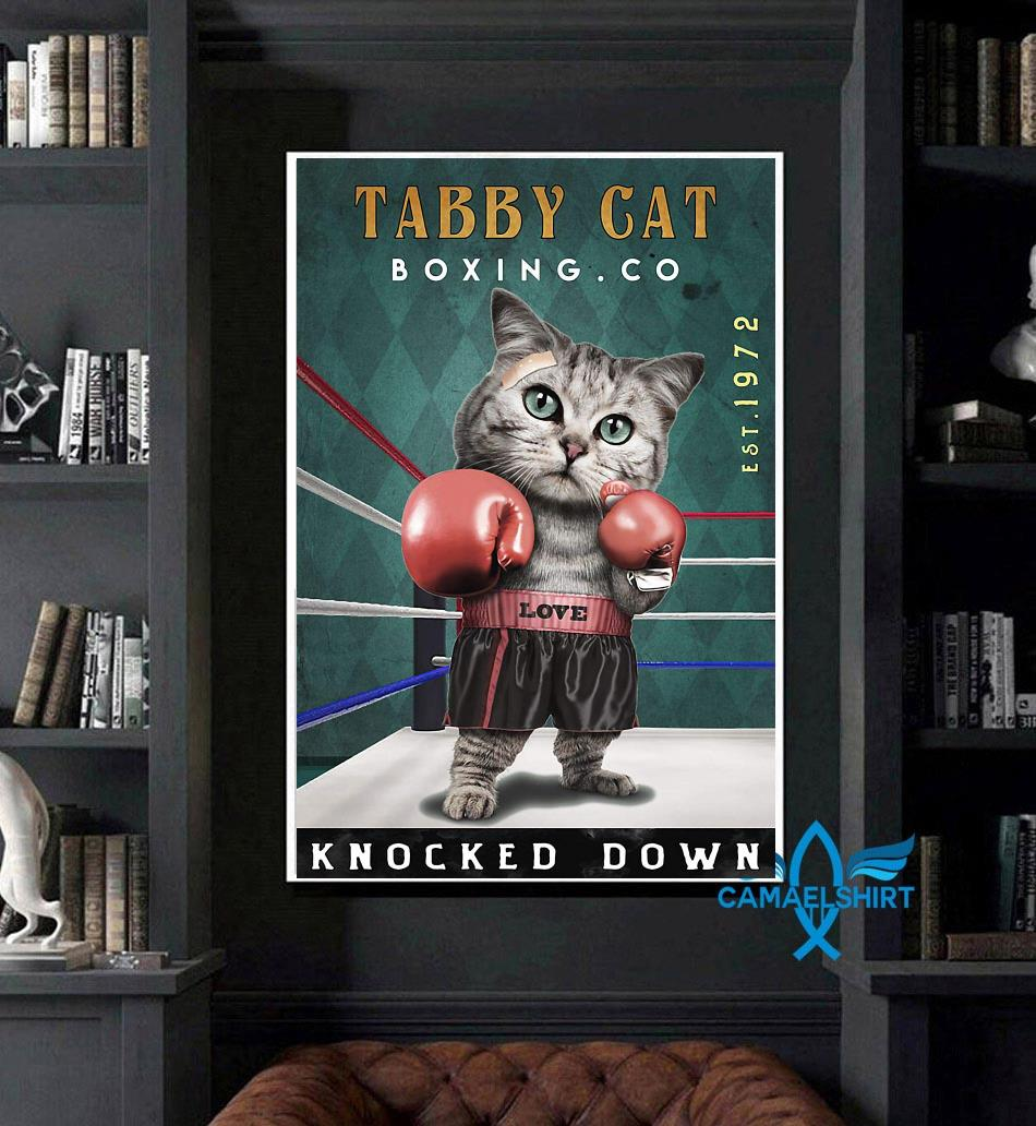 Tabby Cats Boxing knocked down poster canvas art