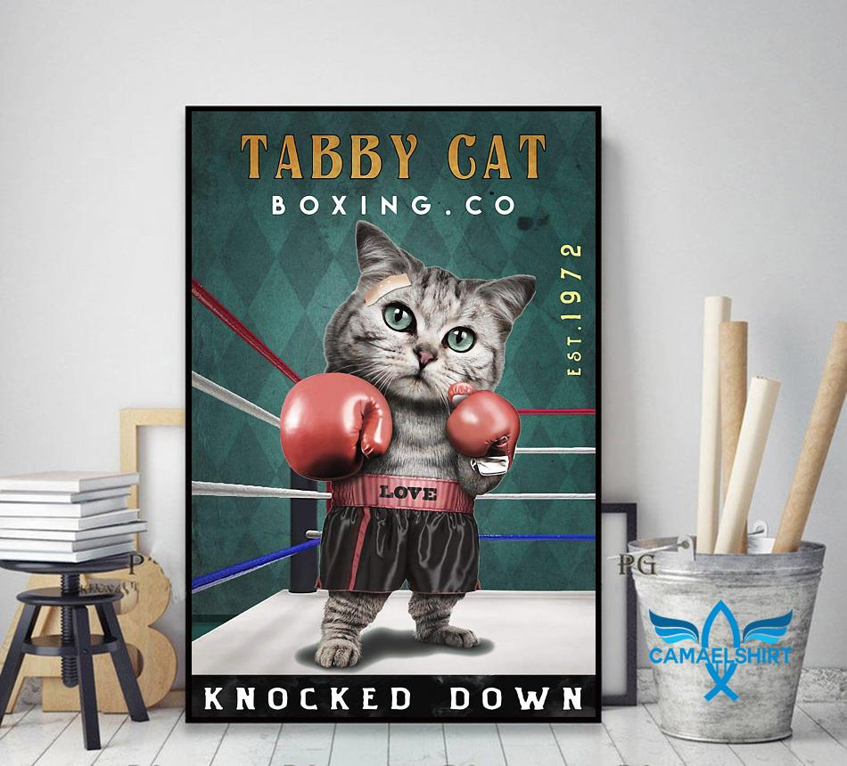 Tabby Cats Boxing knocked down poster canvas decor art