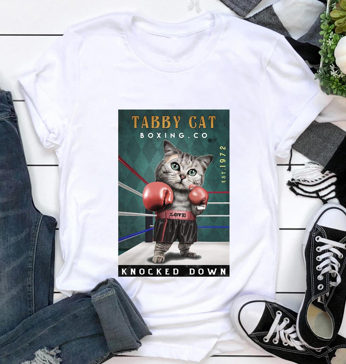 Tabby Cats Boxing knocked down poster canvas t-shirt