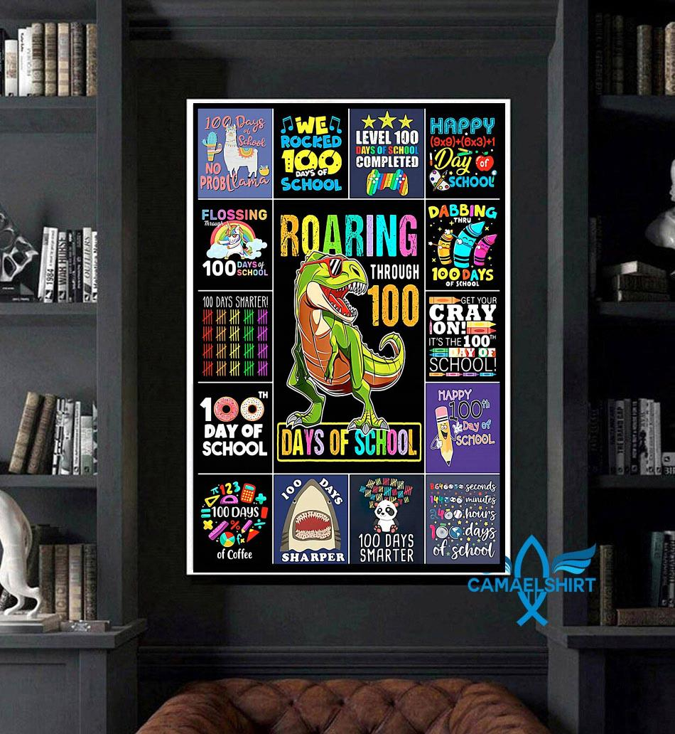 Teacher 100 Days Of School poster art