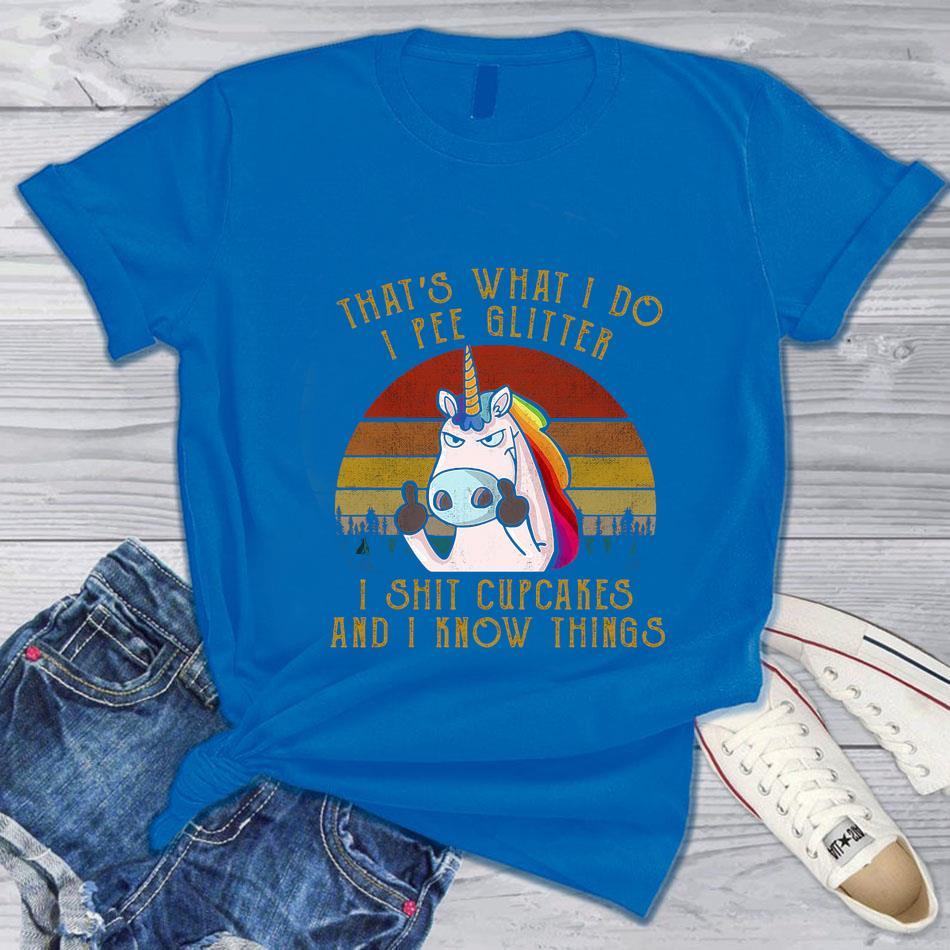 That's what I do I pee glitter I shit cupcakes Unicorn retro t-shrit blue