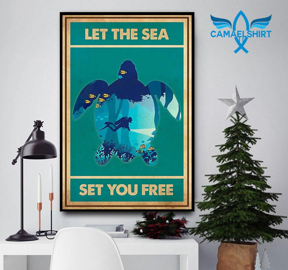Turtle let the sea set you free vertical poster