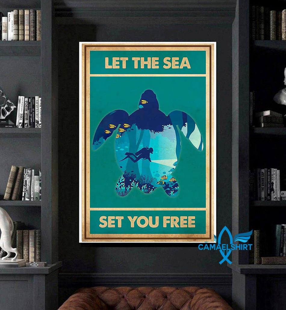 Turtle let the sea set you free vertical poster art