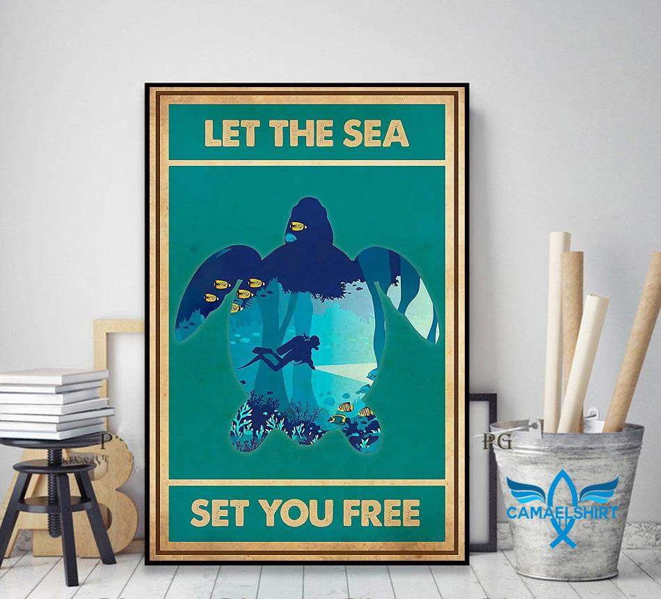 Turtle let the sea set you free vertical poster decor art