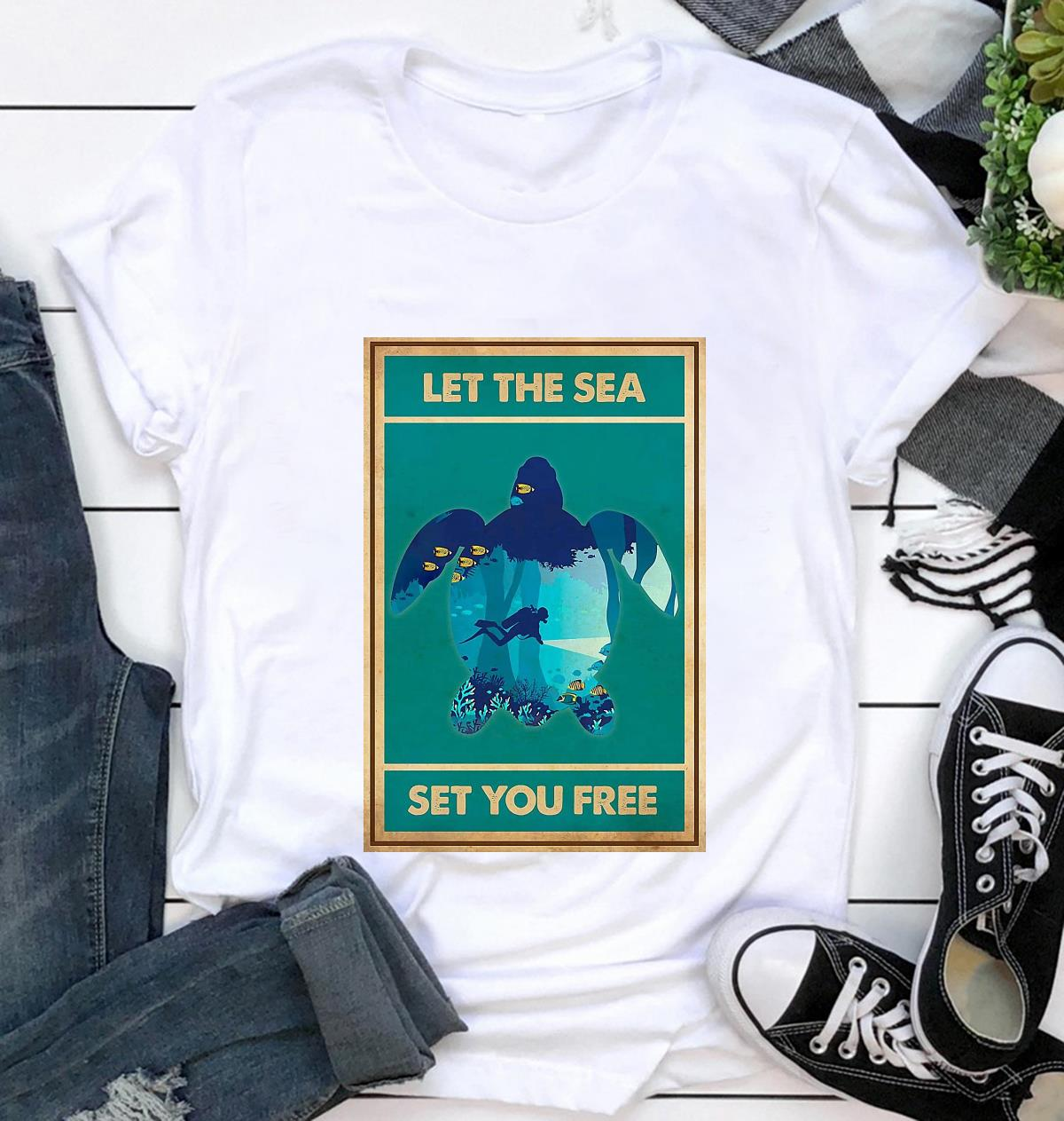 Turtle let the sea set you free vertical poster t-shirt