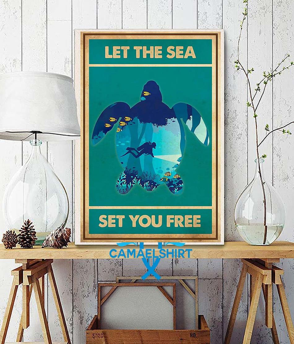 Turtle let the sea set you free vertical poster wall decor