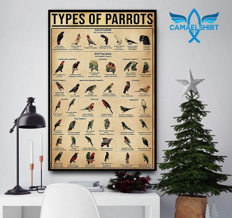 Types of Parrots vertical poster