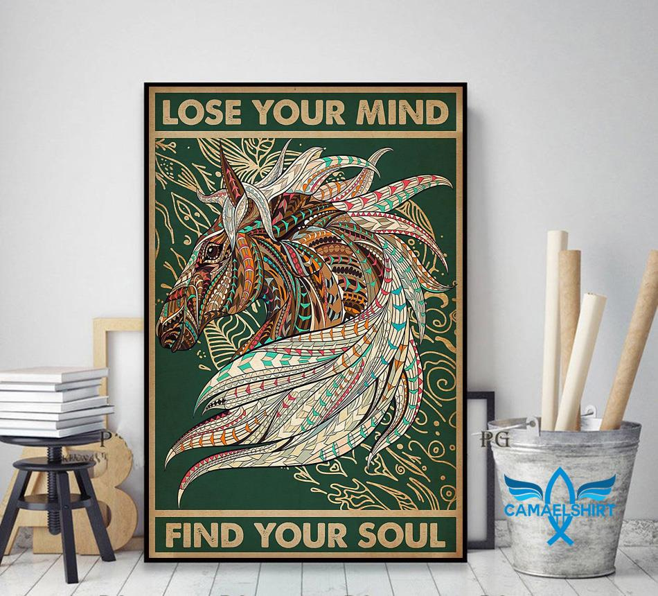 Unicorn Native lose your mind find your soul poster decor art
