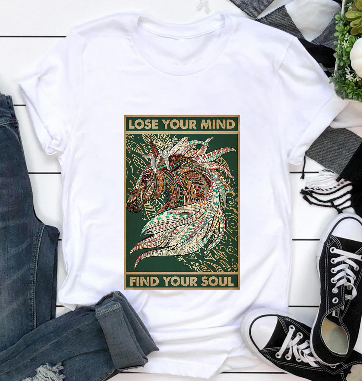 Unicorn Native lose your mind find your soul poster t-shirt
