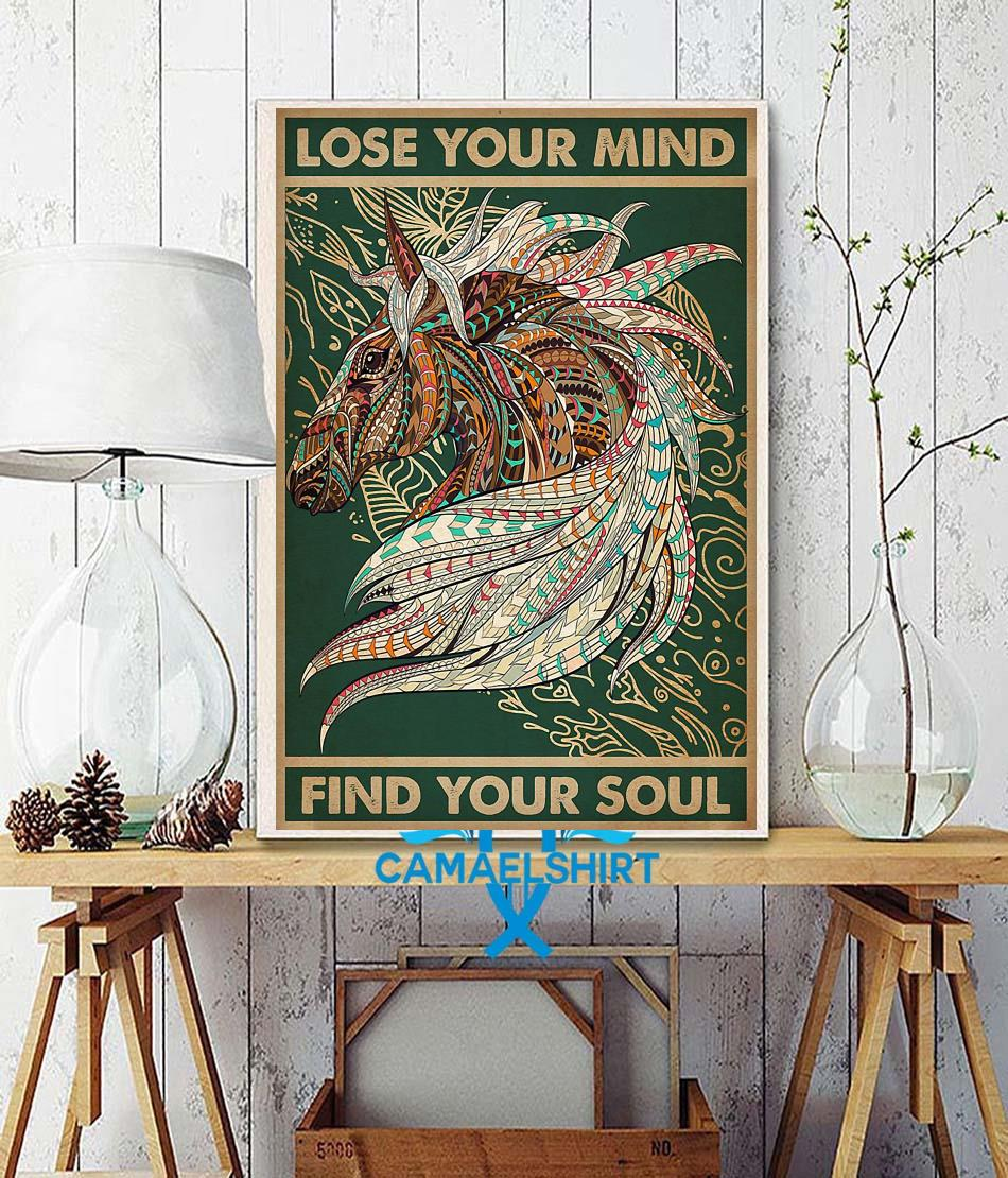 Unicorn Native lose your mind find your soul poster wall decor