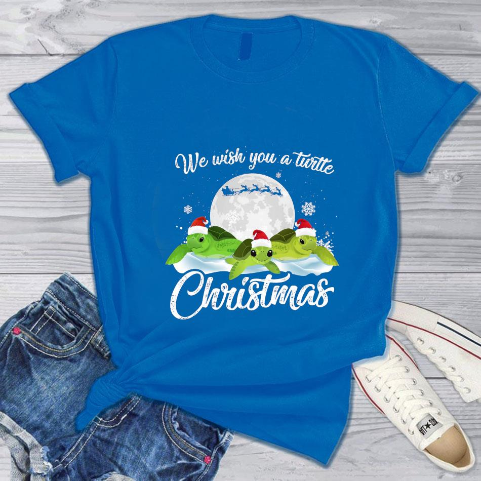 We wish you a turtle Christmas t-s blue