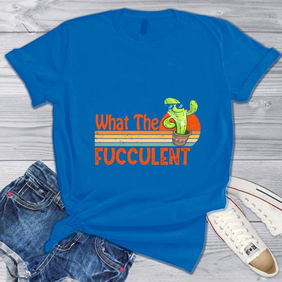 What the fucculent cactus vintage retro t-s blue