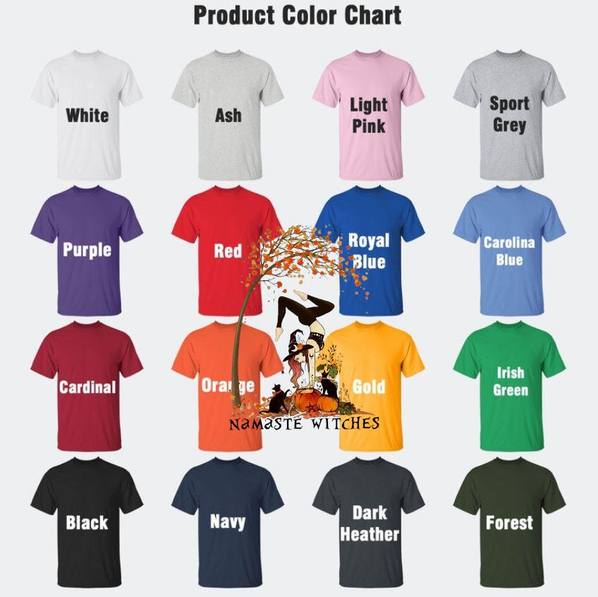 Yoga pumpkin namaste witches fall t-s Camaelshirt Color chart
