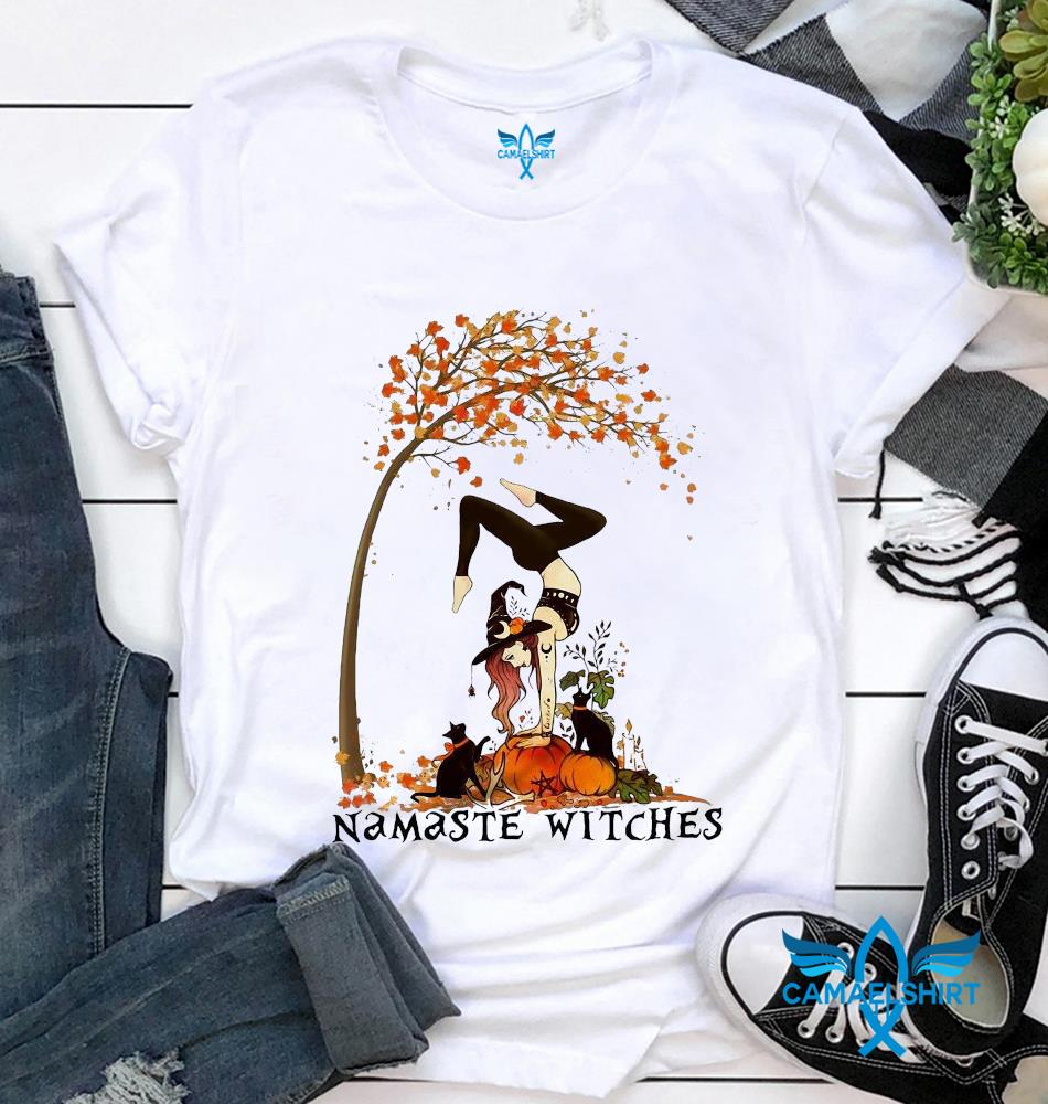 Yoga pumpkin namaste witches fall t-shirt