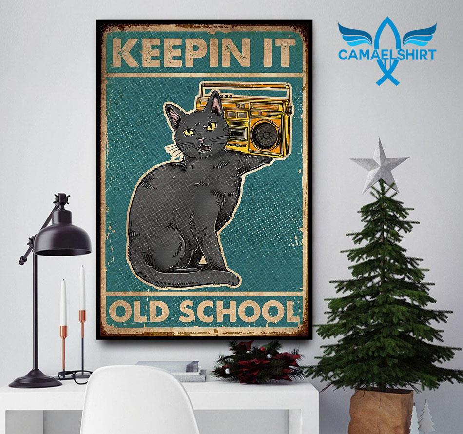 Cat keepin it old school vintage poster