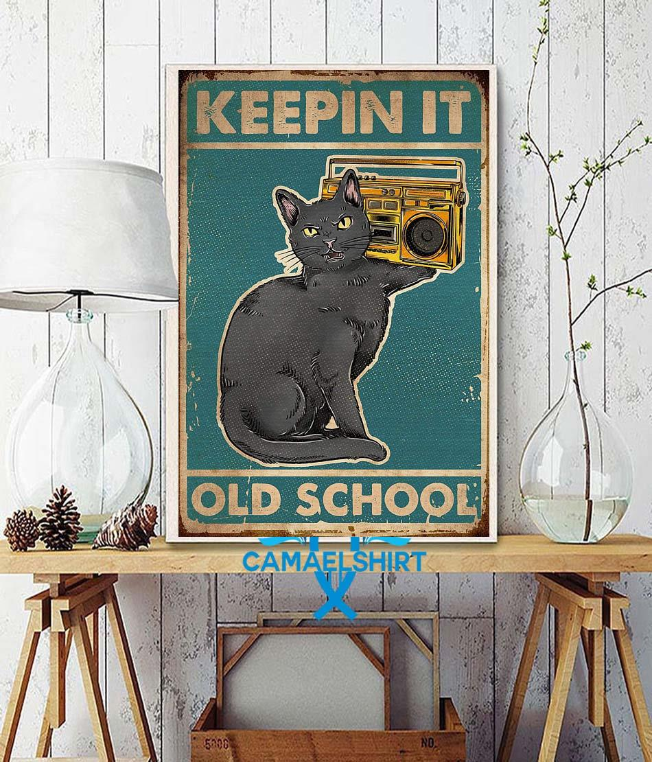 Cat keepin it old school vintage poster wall decor