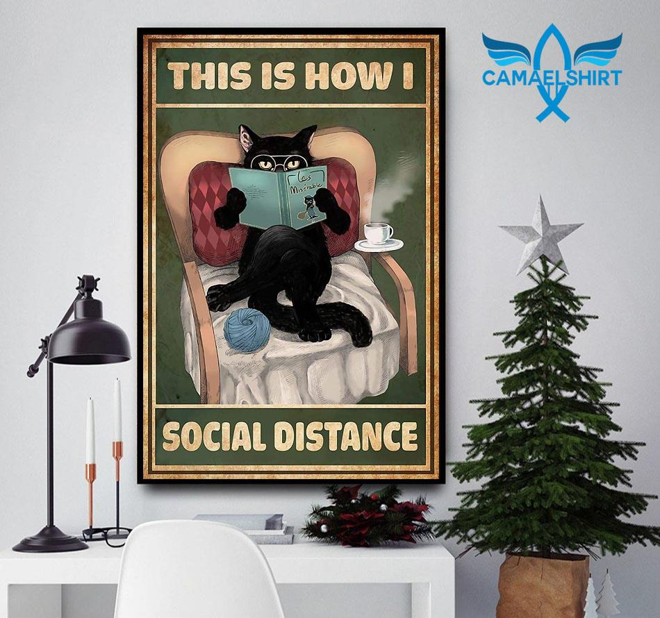 Cat reading this is how I social distance poster