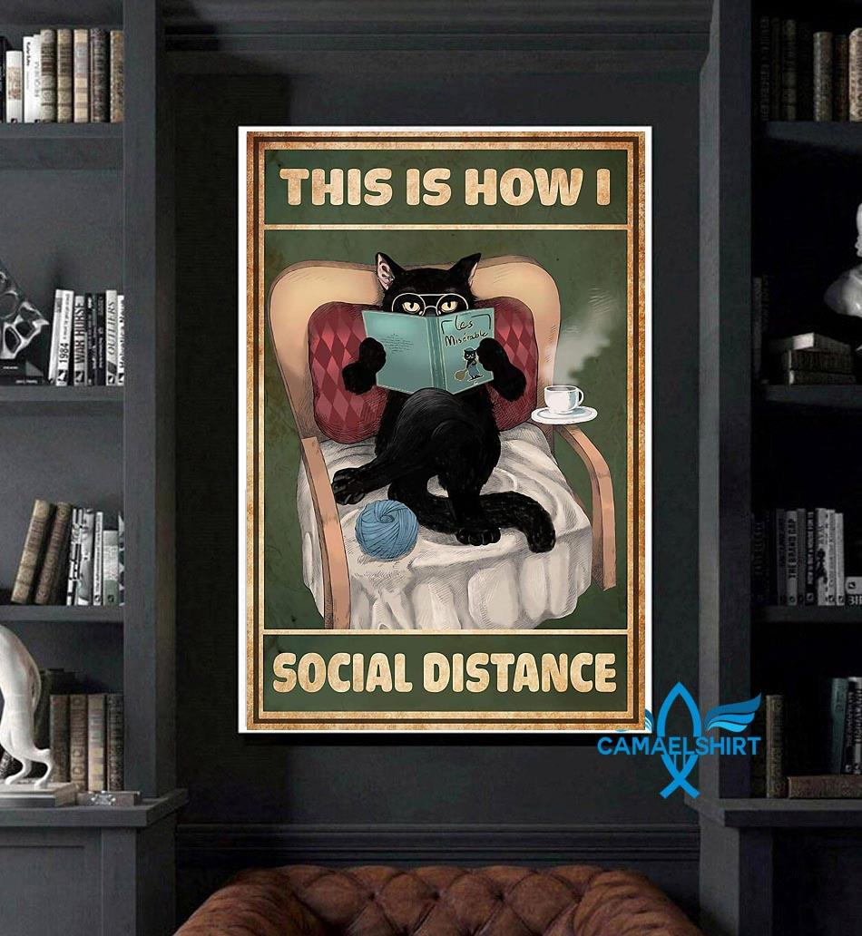 Cat reading this is how I social distance poster art