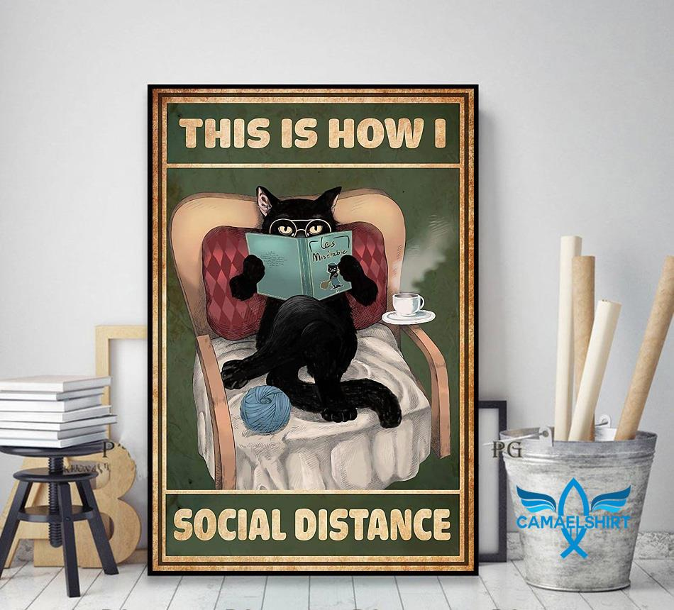 Cat reading this is how I social distance poster decor art