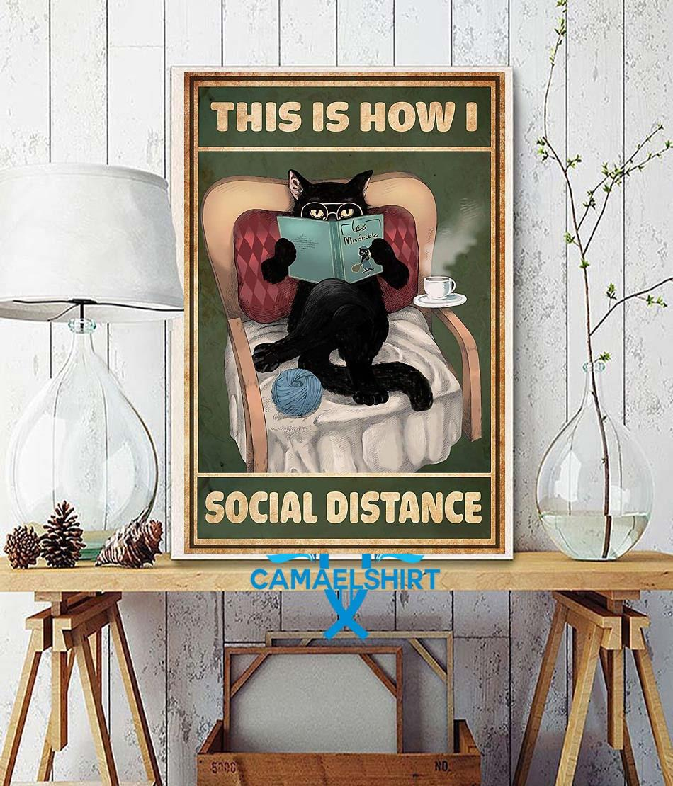 Cat reading this is how I social distance poster wall decor