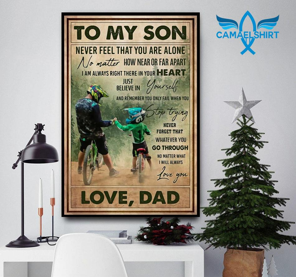 Cycling dad to son remember you only fail when you stop trying poster