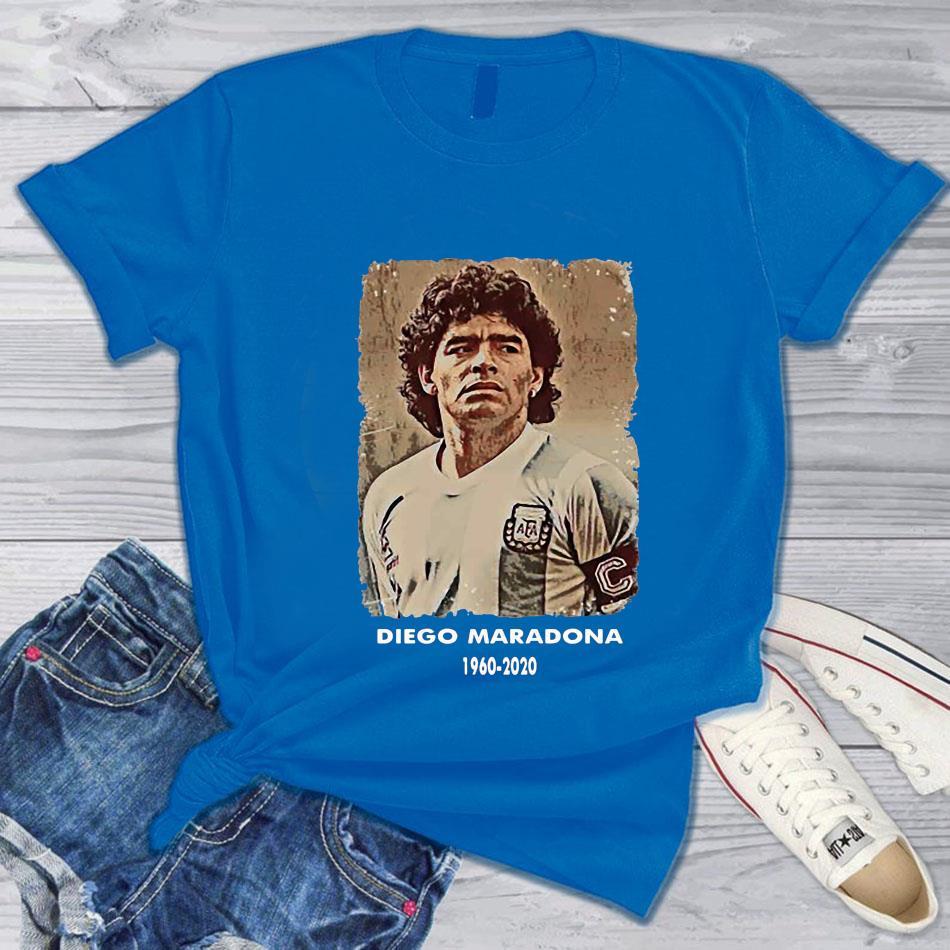 Diego Maradona Argentina soccer legend big loss t-s blue