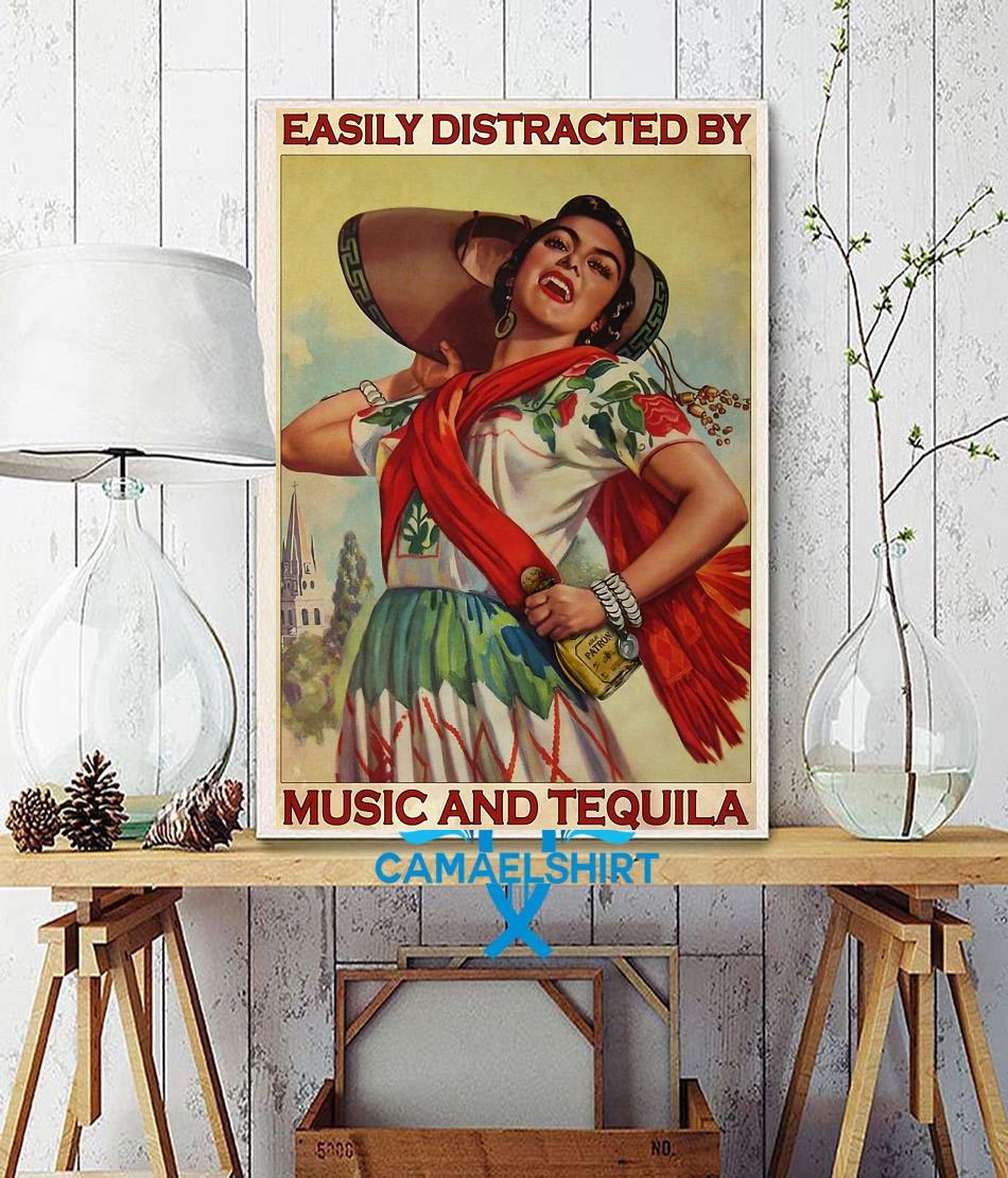 Easily distracted be music and tequila poster Camael wall decor