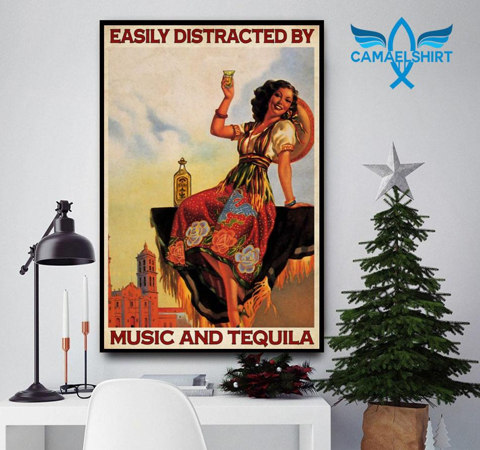 Easily distracted be music and tequila poster canvas