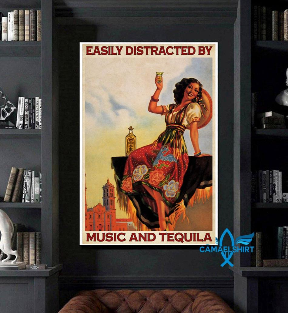 Easily distracted be music and tequila poster canvas art