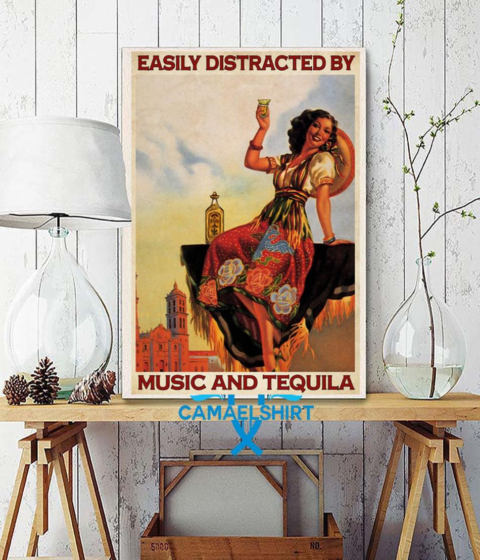 Easily distracted be music and tequila poster canvas wall decor