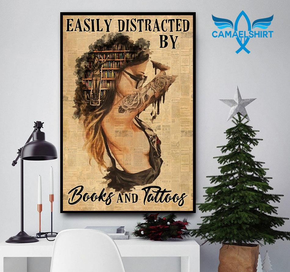 Easily distracted by books and tattoos vertical poster