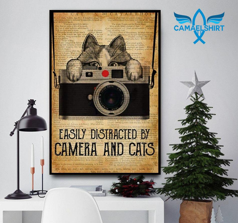 Easily distracted by camera and cats vertical poster