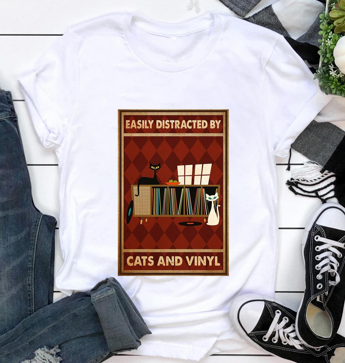 Easily distracted by cats and vinyl vertical poster canvas t-shirt