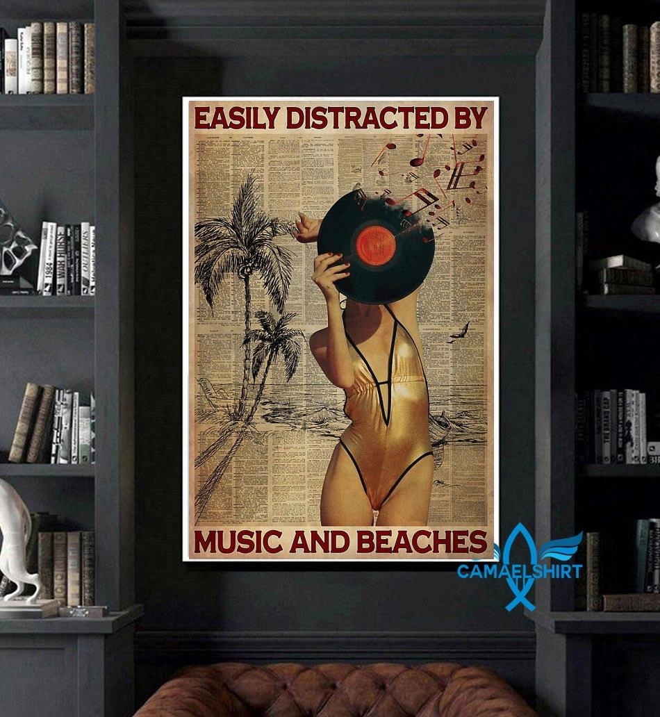 Easily distracted by music and beaches poster art