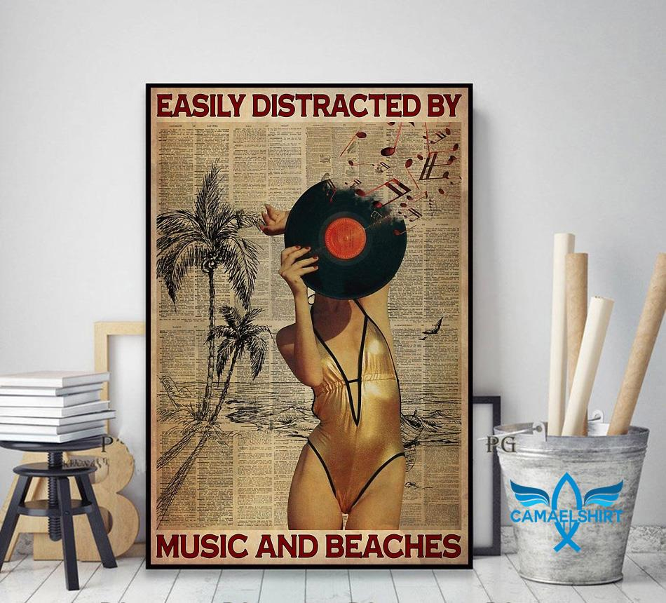Easily distracted by music and beaches poster decor art