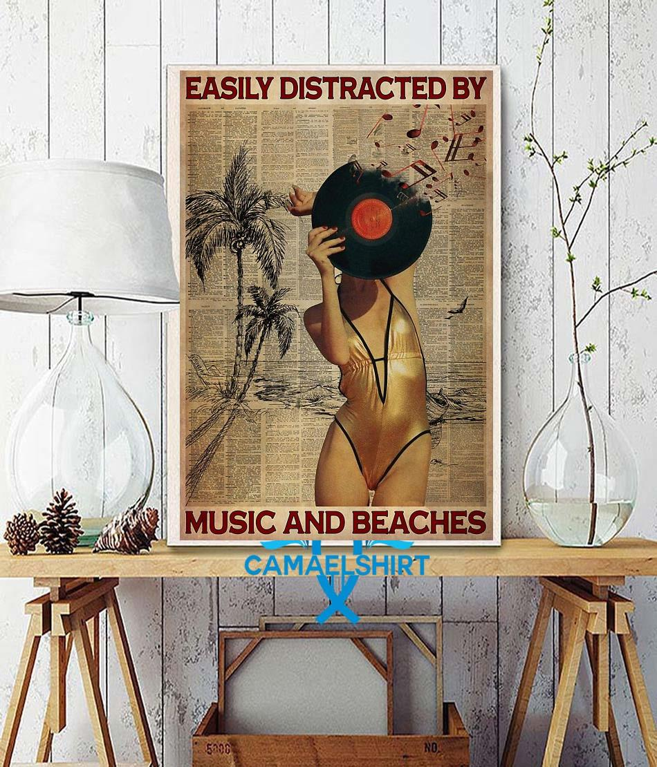 Easily distracted by music and beaches poster wall decor