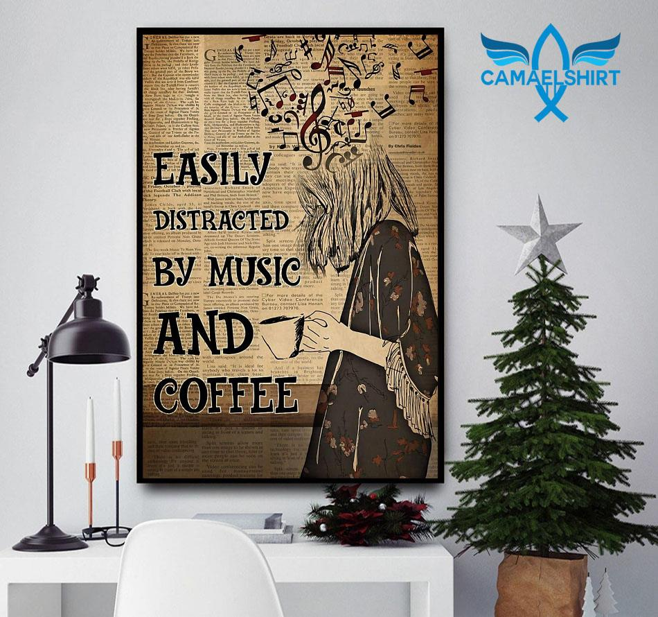 Easily distracted by music and coffee vertical poster canvas