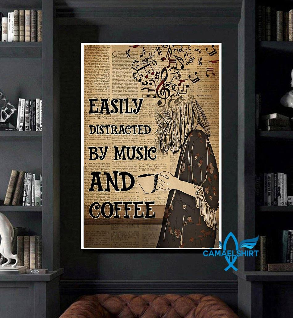 Easily distracted by music and coffee vertical poster canvas art