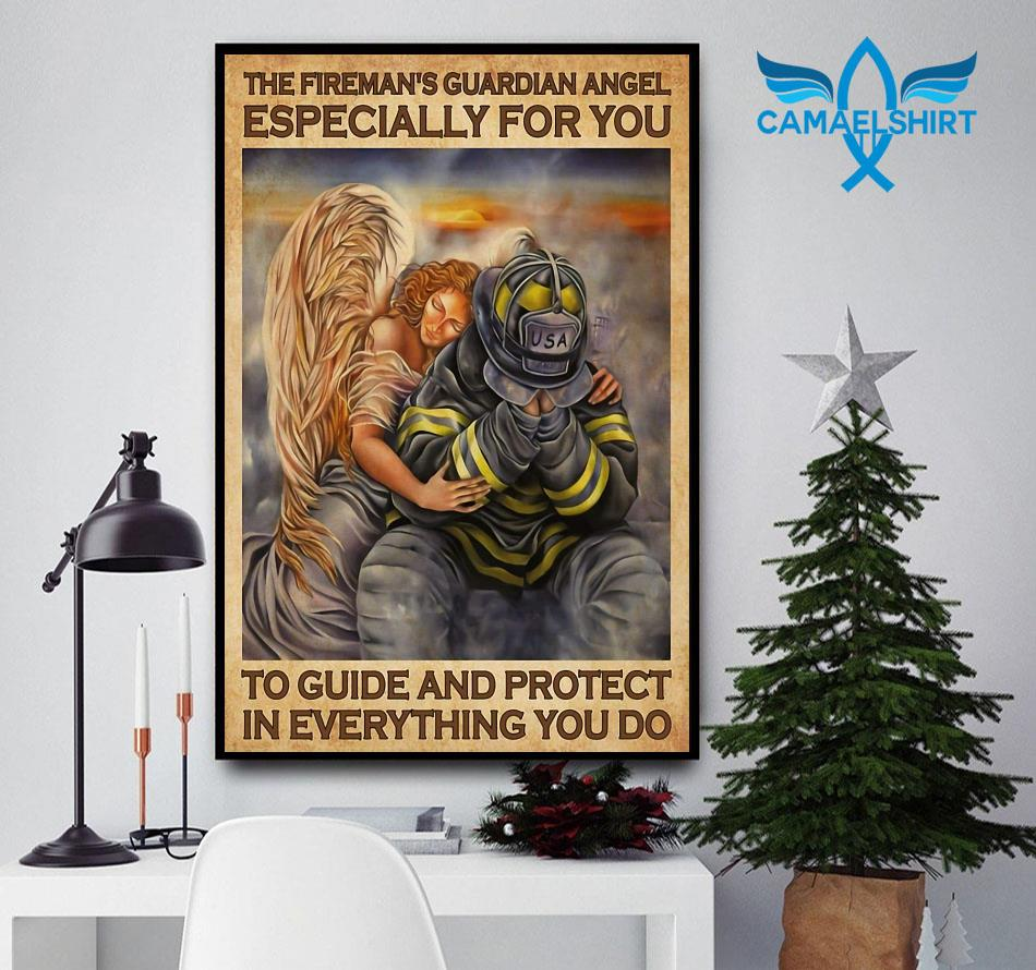 Firefighter Guardian Angel Especially For You To Guide And Protect Poster