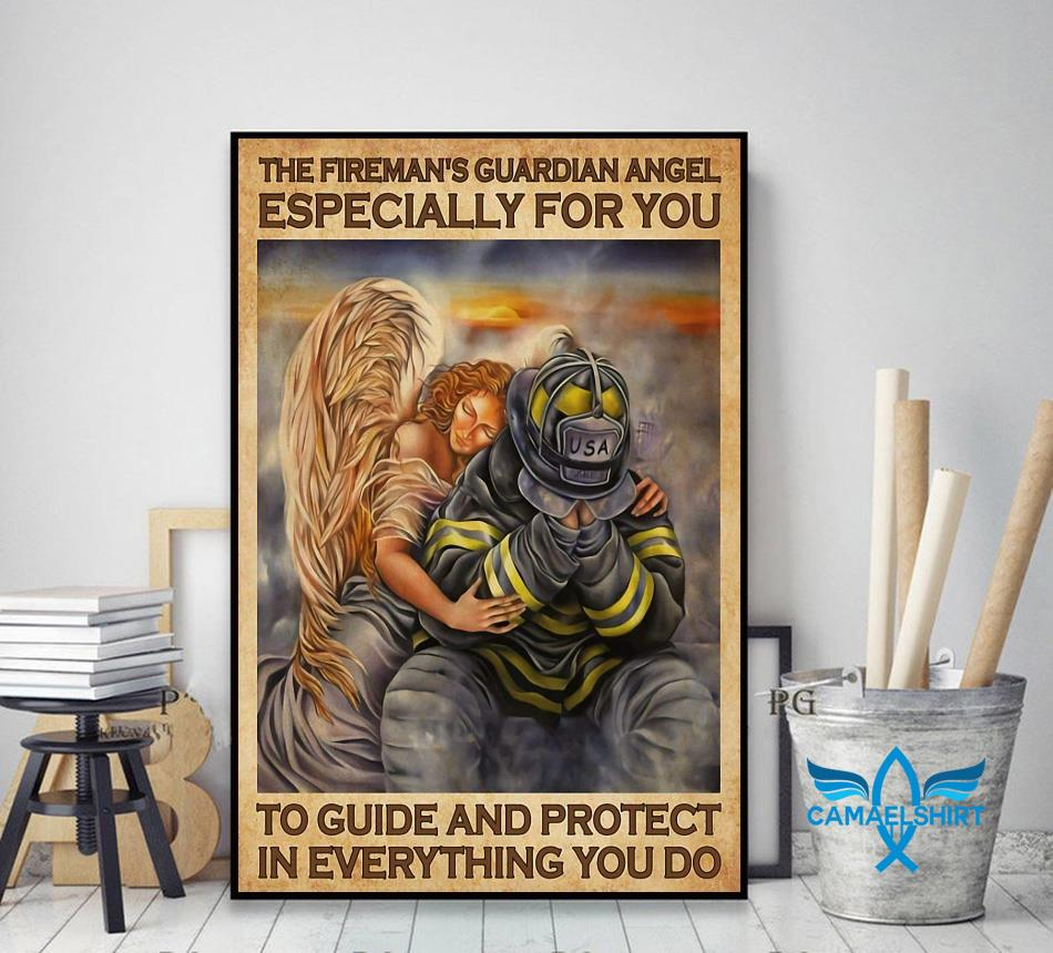 Firefighter guardian angel especially for you to guide and protect poster decor art