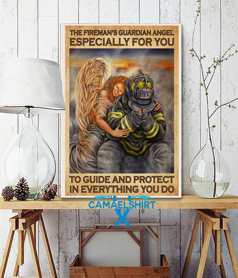 Firefighter guardian angel especially for you to guide and protect poster wall decor