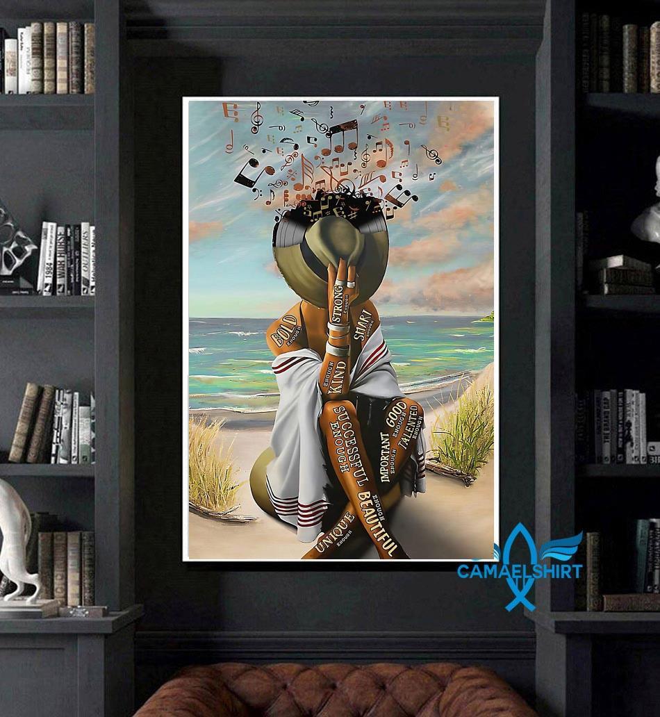 Girl loves music in beach smart strong good important poster art
